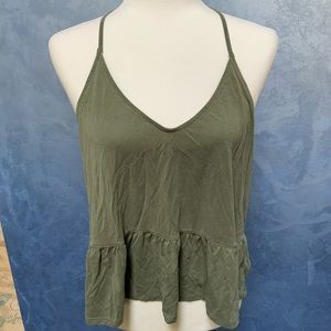 American Eagle Olive Green Peplum Halter Tank Top